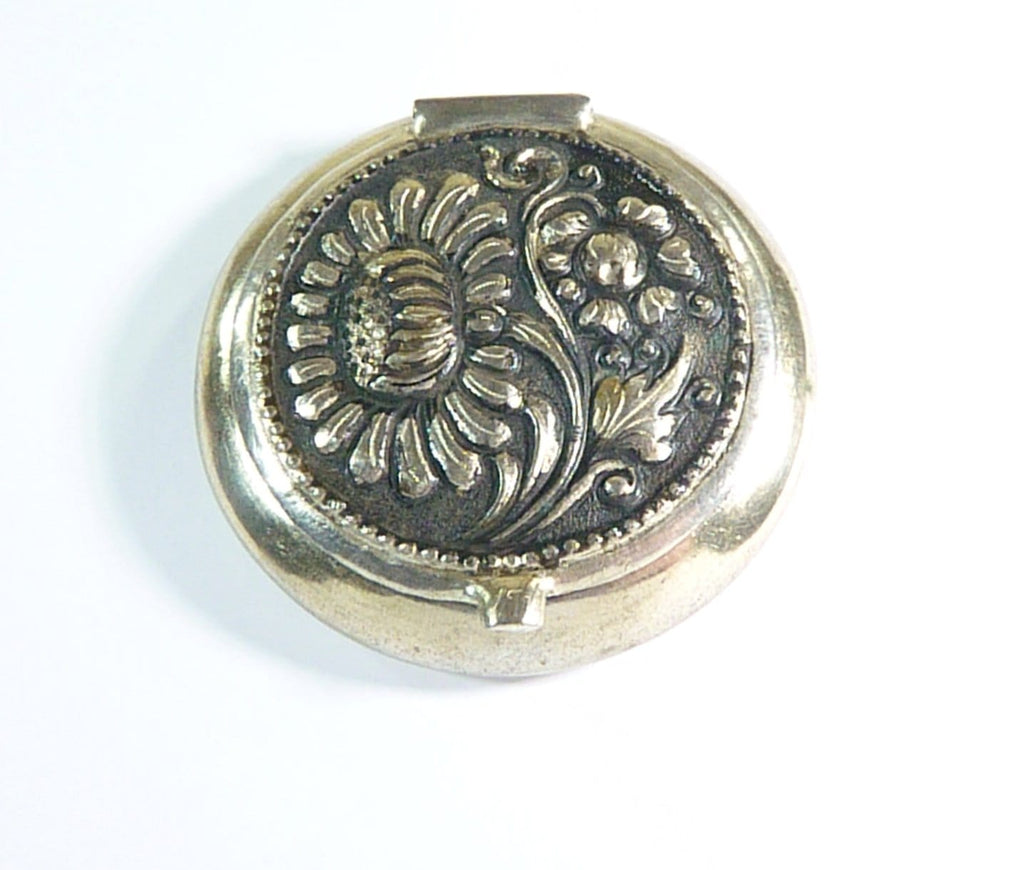 continental silver compact mirror