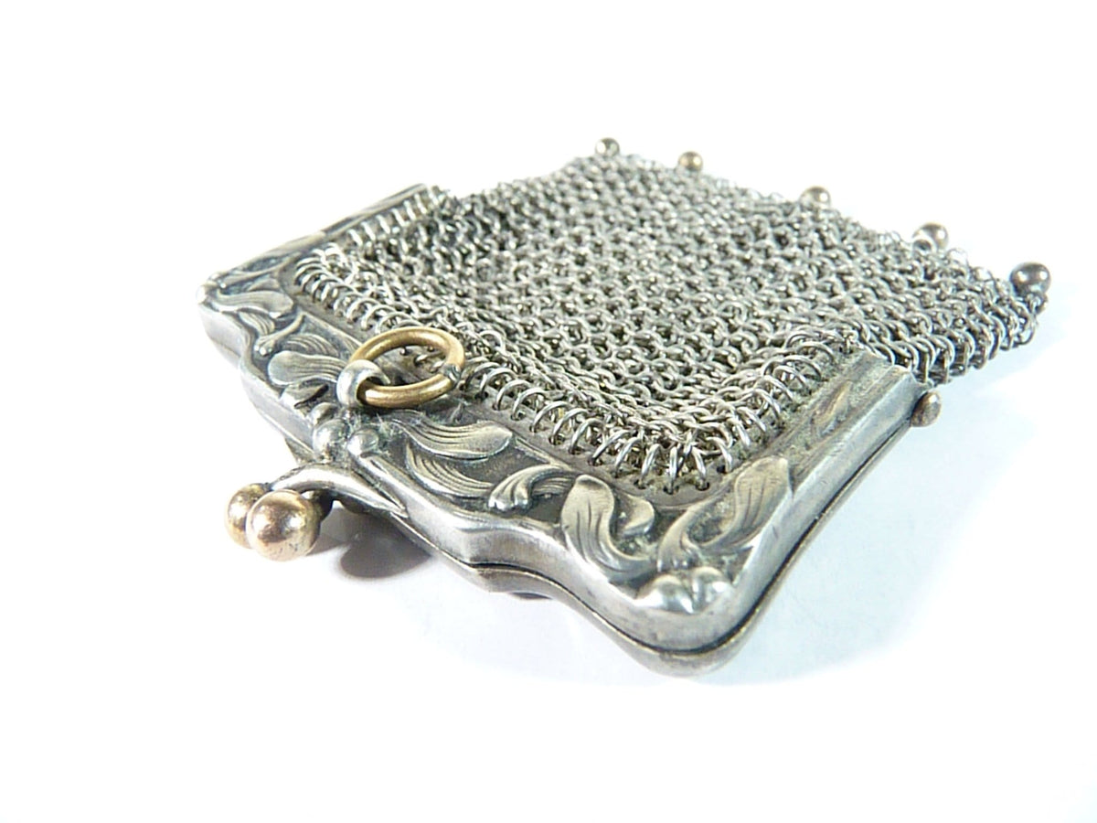 hallmarked silver Art Nouveau chatelaine purse