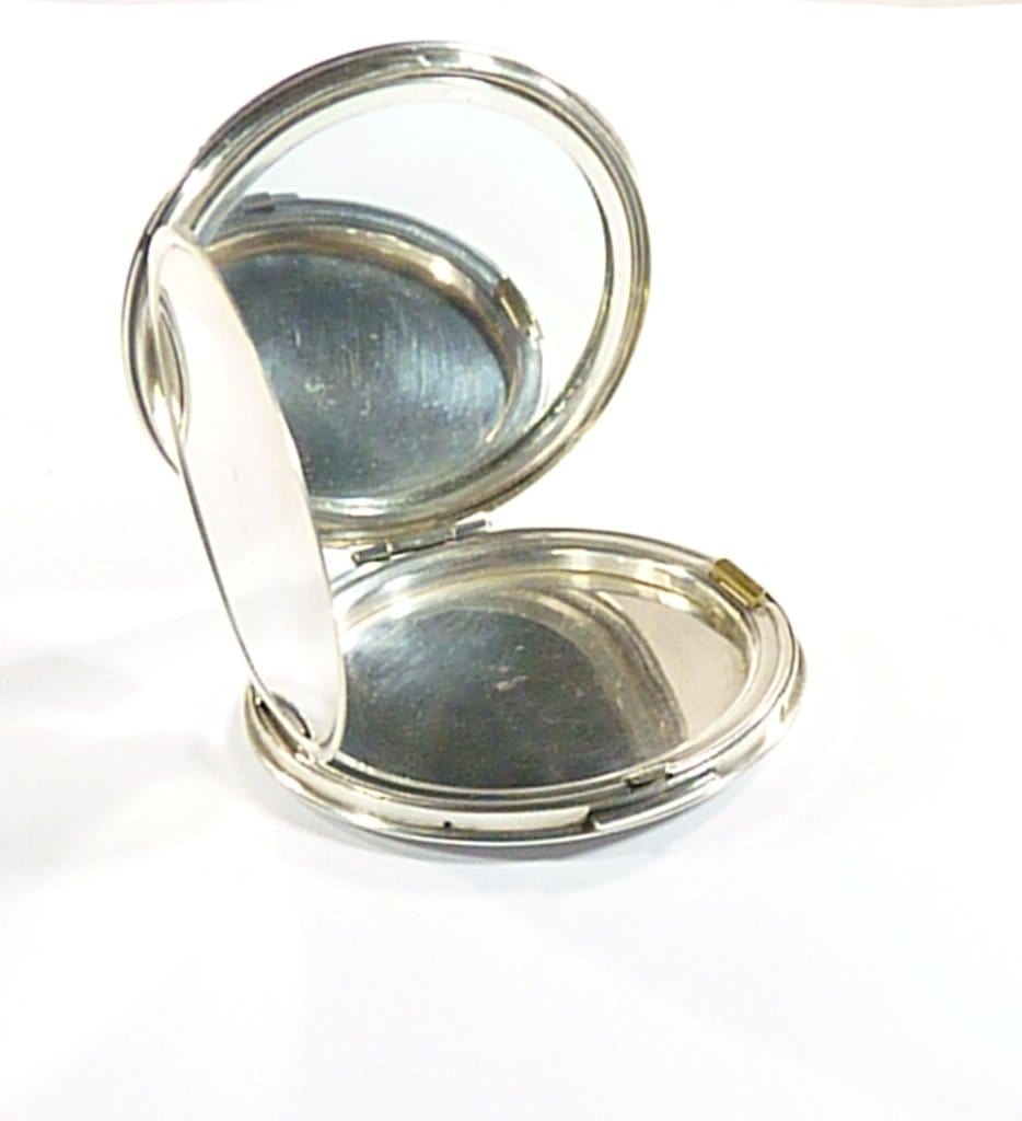 Initials B M Sterling Silver Compact Mirror 1946
