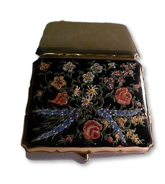 Rare Stratton cigarette / card case unused boxed collector's piece enamel Strattons 1950s - The Vintage Compact Shop