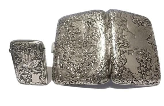 Rare Charles Murat sterling silver cigarette and vesta case set MANTICORES antique silver gifts wedding gift sets 1800s - The Vintage Compact Shop