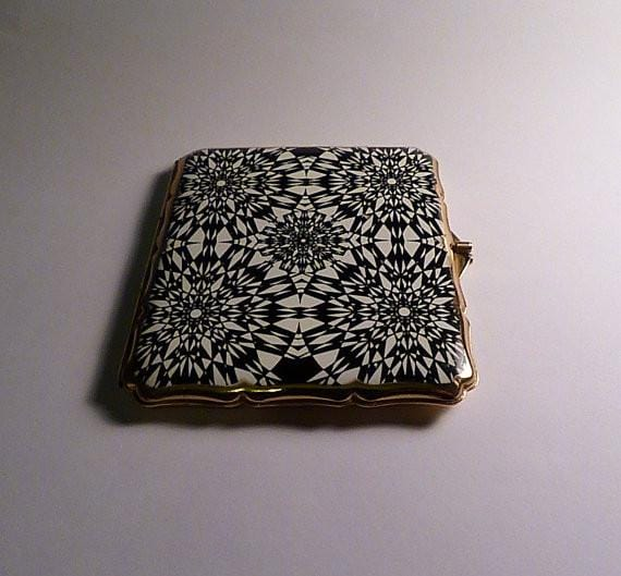 Monochrome enamel vintage cigarette case 1950s Stratton cigarette / business card case - The Vintage Compact Shop