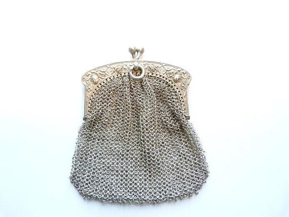 Solid silver Art Nouveau mesh purse 25th wedding anniversary gifts for her 1900s - The Vintage Compact Shop