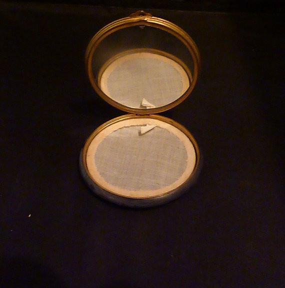 Vintage Petite Point & Celluloid Powder Compact 1930s old compacts antique compact mirrors gifts for her - The Vintage Compact Shop