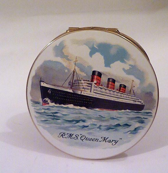 Rare Stratton ship compacts boat powder compact vintage Stratton R M S Queen Mary compact rare boat compacts vintage enamel ships compacts