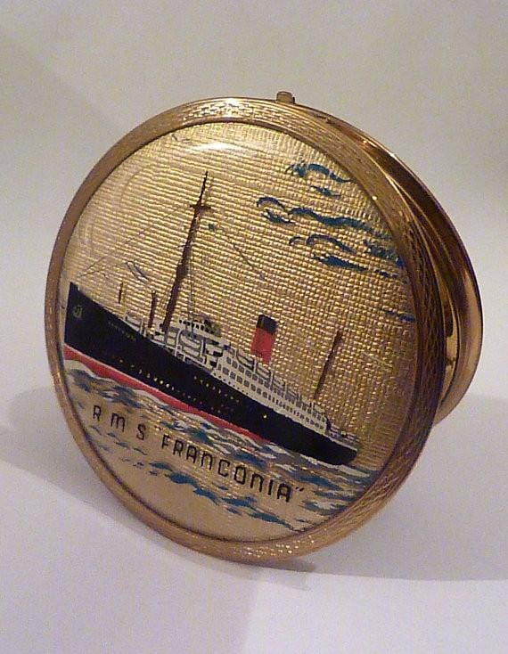 Vintage Stratton ship compact R M S Franconia compact Stratton ships compacts 1950s boat compacts pocket mirrors vintage bridesmaids gifts - The Vintage Compact Shop
