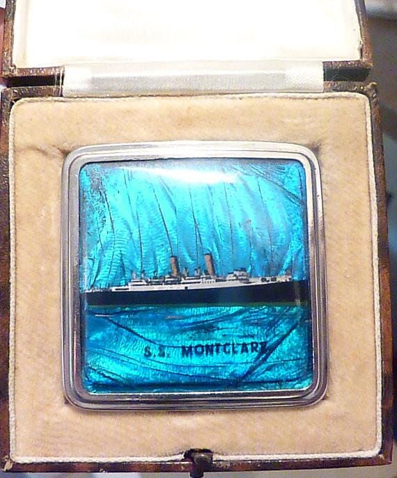Rare cased Stratnoid butterfly wing compact S S Montclare ship compact - The Vintage Compact Shop
