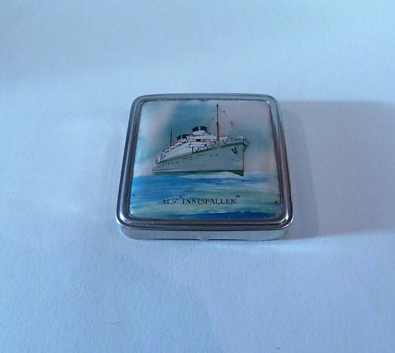 Rare celluloid compacts Stratnoid powder compacts M V INNISFALLEN at sea boat / ship themed Stratton compact mirrors - The Vintage Compact Shop