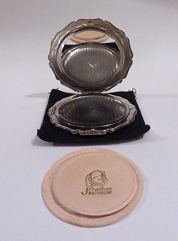 Vintage Powder Compact Silver Plated Stratton Princess Compact Mirror 1950s