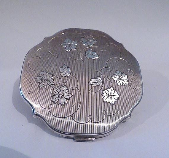 Continental silver compact antique silver wedding gifts for her - The Vintage Compact Shop