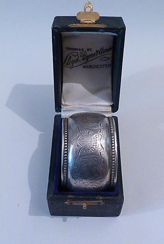 Antique silver cased Victorian napkin ring William M Hayes