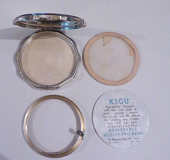 Solid silver compacts sterling silver Kigu compact 1966 silver wedding gifts for her - The Vintage Compact Shop