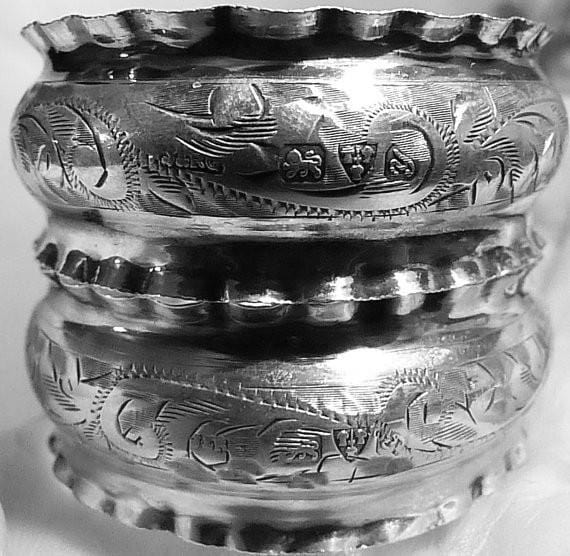 Antique silver napkins rings pair of sterling silver serviette rings silve 1924