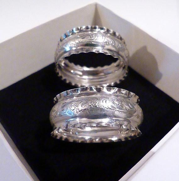 Antique silver napkins rings 1924