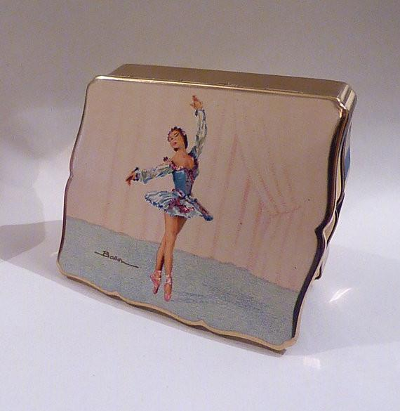 Rare Stratton BALLET THEMED musical powder box ballet compact mirrors 1950s - The Vintage Compact Shop