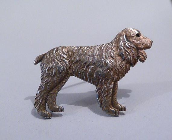 Gifts for dog lovers sterling silver Spaniel brooch / pin silver wedding anniversary gifts for her - The Vintage Compact Shop