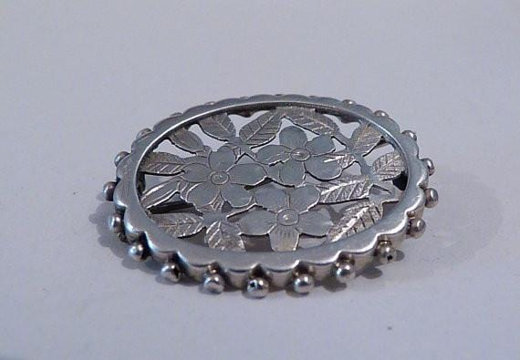 Antique silver wedding anniversary gifts for her silver brooches / pins floral birthday gifts