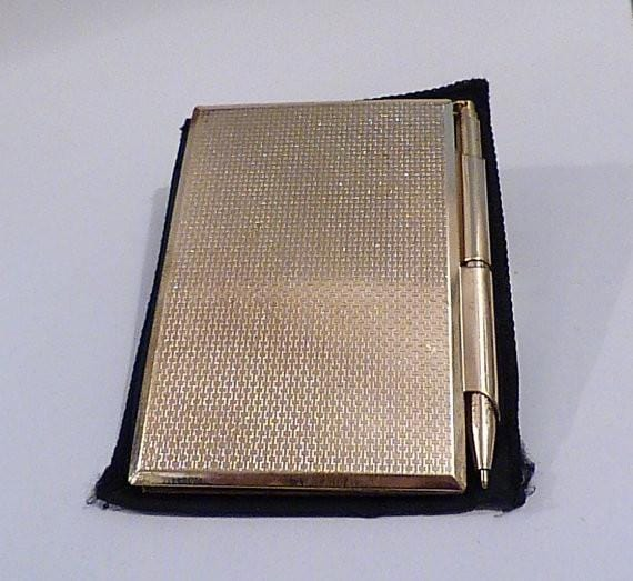 UNUSED vintage Stratton note book & with the original note pad & pen vintage Stratton accessories vintage books vintage notepads and pens - The Vintage Compact Shop