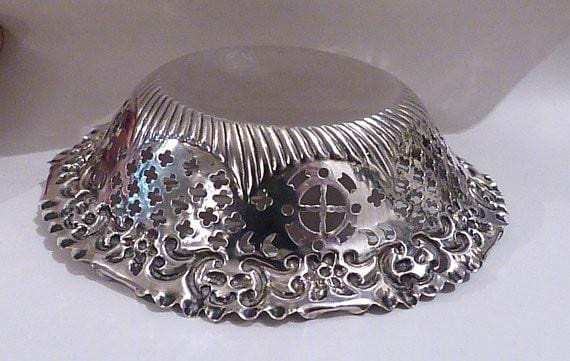 Victorian silver bon bon dish / sweetmeat bowl Chester assayed silver 1800s silver wedding gifts for her - The Vintage Compact Shop