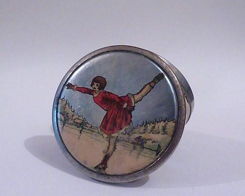 Stratnoid ice skater compact antique Christmas gifts for her 10th / tin wedding anniversary gifts for her - The Vintage Compact Shop