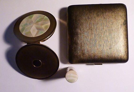 Vintage mother of pearl lipstick Melissa compact set pearl wedding gifts for her - The Vintage Compact Shop
