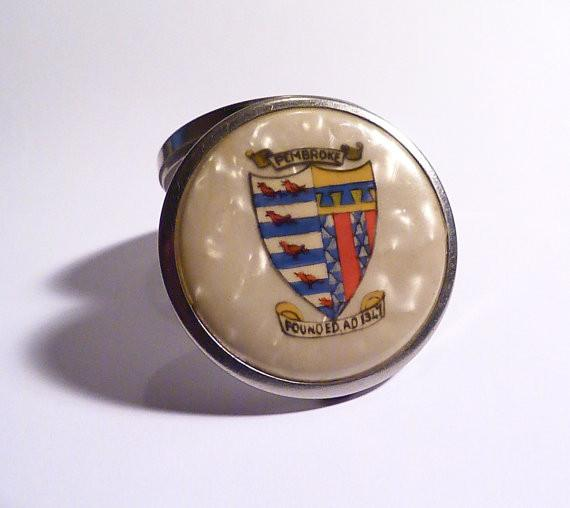 Antique Pembroke College celluloid powder compact rare Stratnoid compact - The Vintage Compact Shop