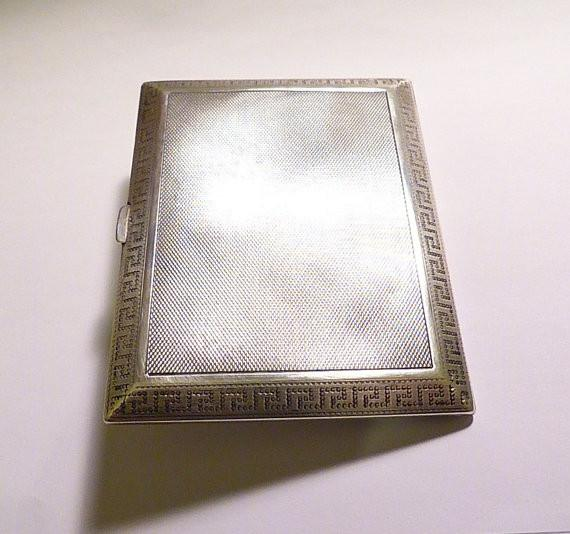 Asprey cigarette case sterling silver cigarette cases Art Deco card cases 1927 silver wedding anniversary gifts - The Vintage Compact Shop