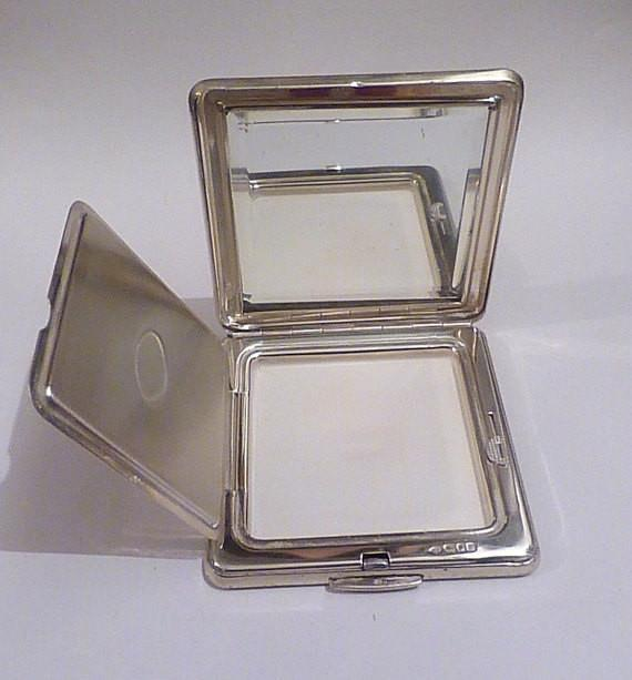 Solid silver Kigu compact antique silver wedding gifts for her 25th anniversary presents for ladies - The Vintage Compact Shop