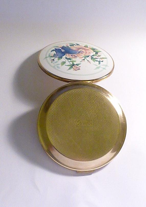 Enamel compacts floral Stratton compact mirrors vintage butterfly powder compacts