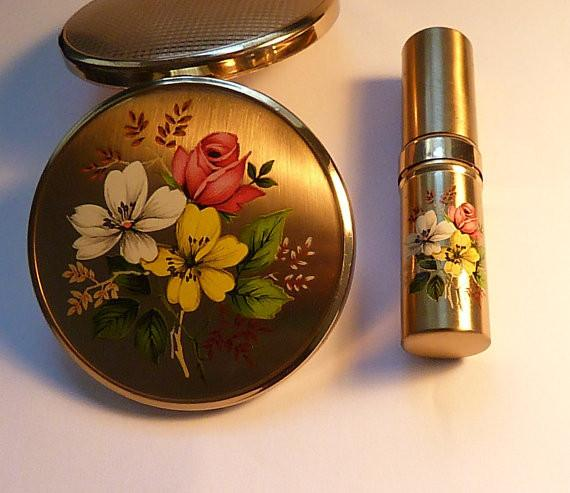 Vintage compacts boxed Melissa compact atomizer / atomiser set 1950s - The Vintage Compact Shop