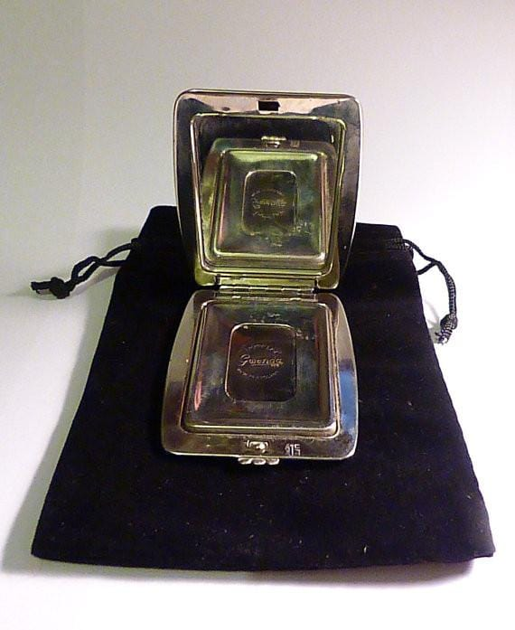 Vintage GWENDA tap flap crinoline lady romantic compacts foil tin / 10th wedding gifts 1930s - The Vintage Compact Shop