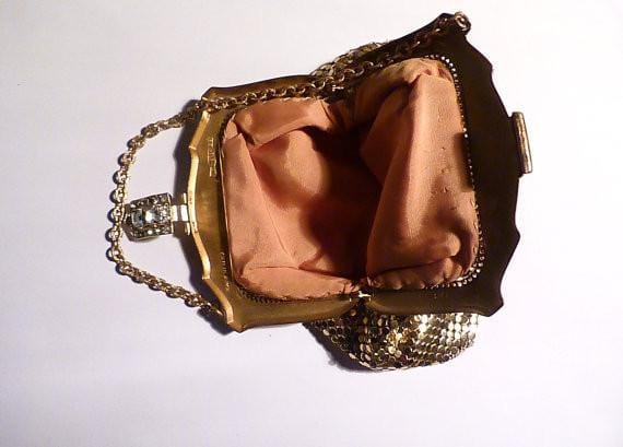 Bridal clutches vintage Whiting and Davis mesh bag / mesh purse wedding accessories - The Vintage Compact Shop