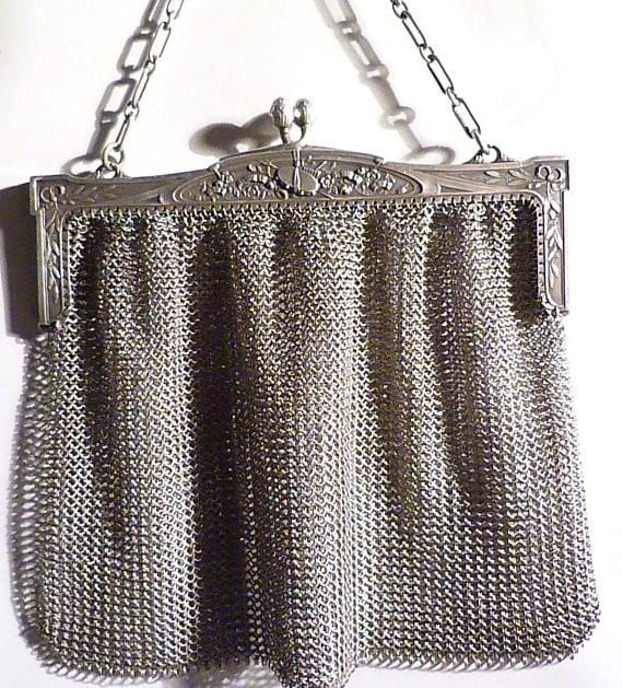 Antique sterling silver mesh purse large Alfred Lecorazet mesh bag bridal clutch antique silver gifts for her - The Vintage Compact Shop