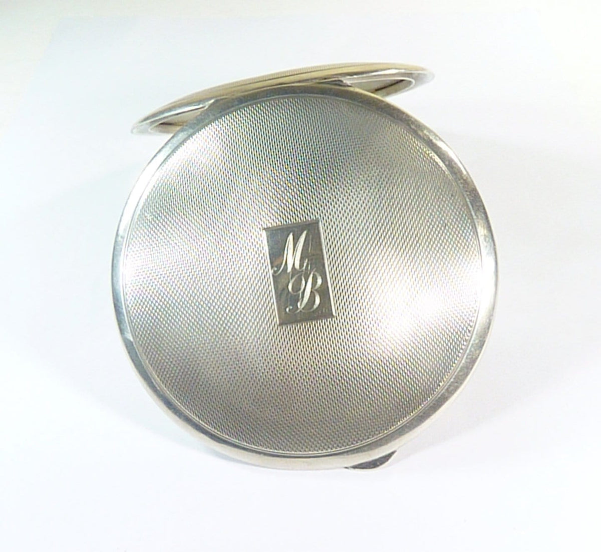 initials M B  sterling silver loose powder compact