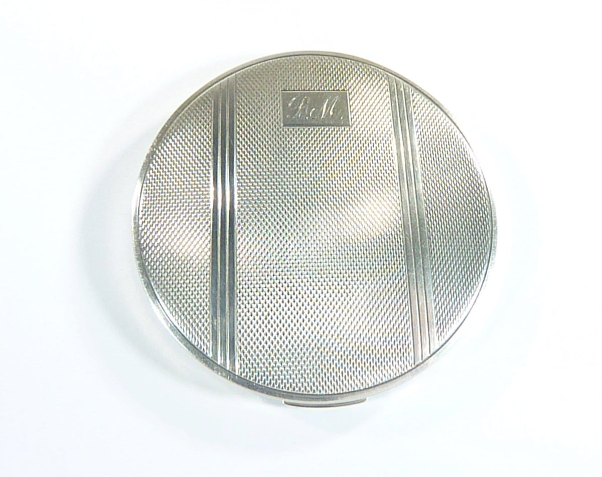 initials B M solid silver compact mirror