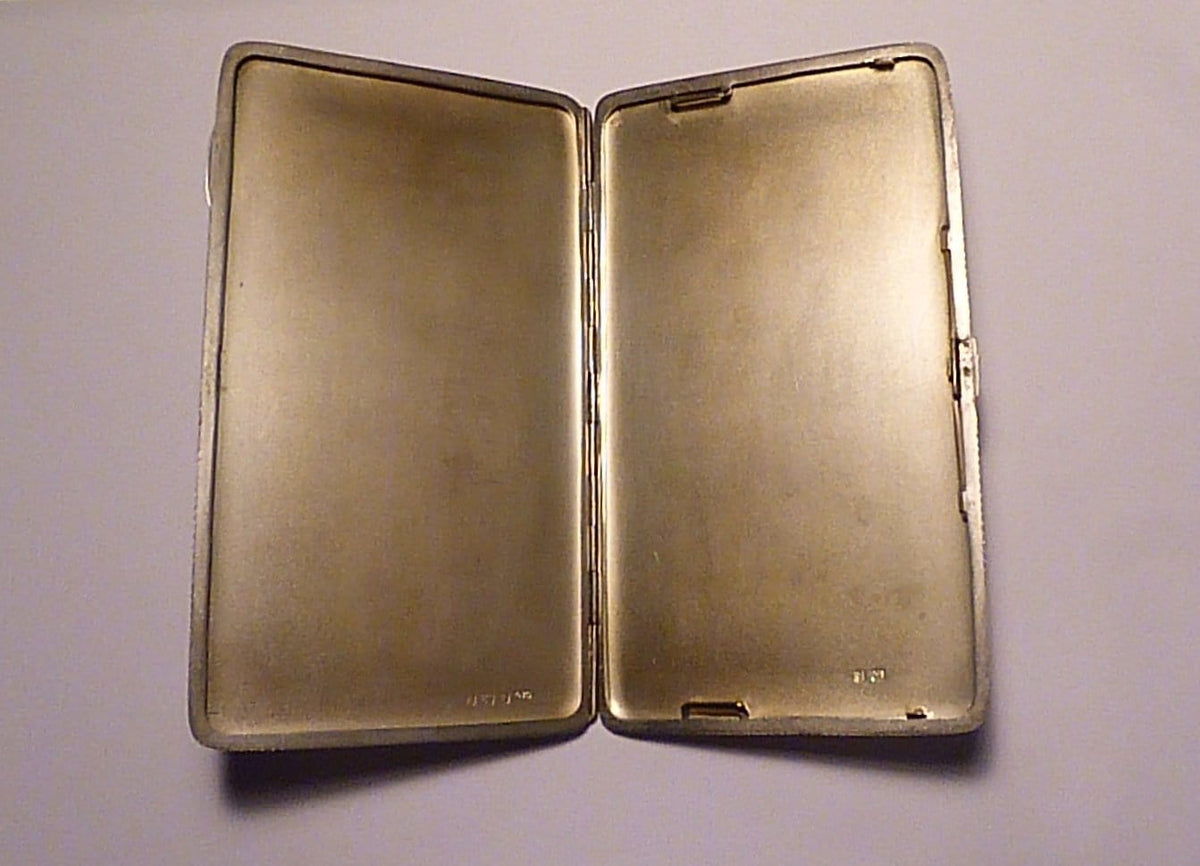 Antique silver cigarette cases William Devenport Art Deco sterling silver business card case large 1930