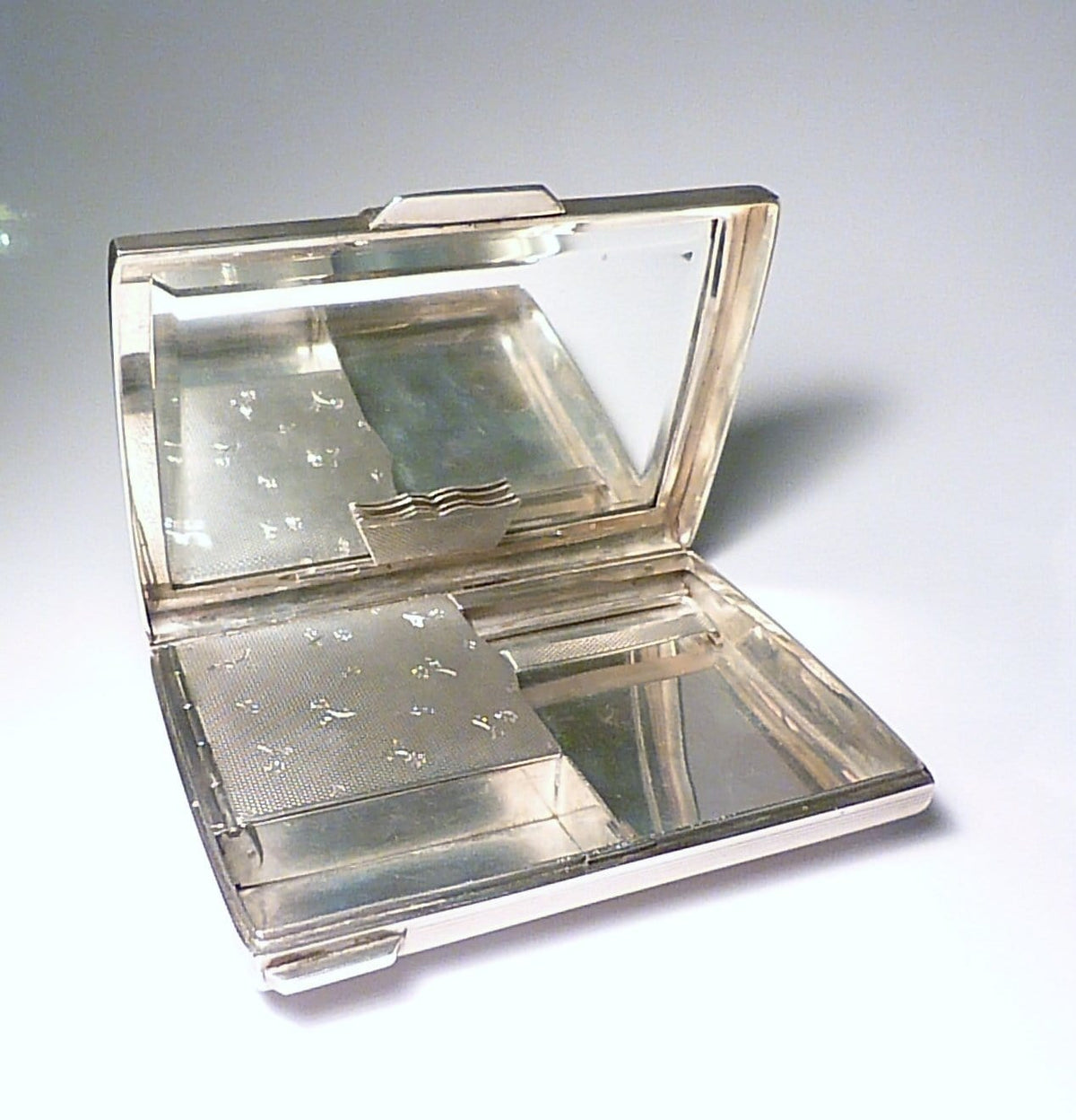 Solid silver minaudiere antique necessaire bridal clutches 1940s