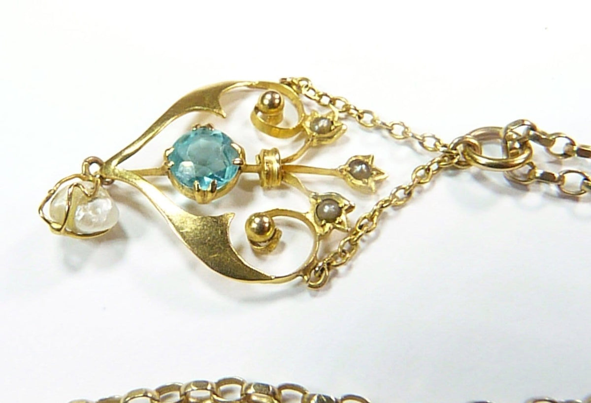 natural pearl aquamarine and hallmarked gold pendant and belcher chain