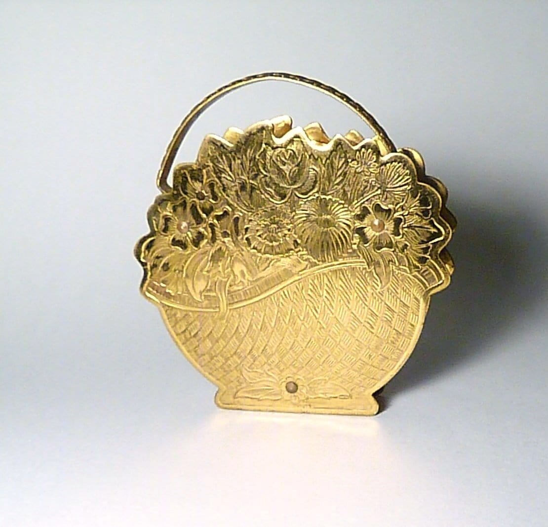 Rare Flower Basket Powder Compact Figural Compact Mirrors 1950s