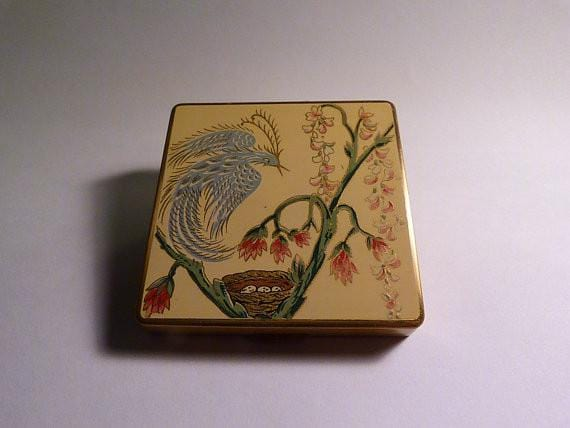 Rare powder compacts enamel compacts Zenette compacts 1940s film props ladies handbag mirrors bird of paradise - The Vintage Compact Shop