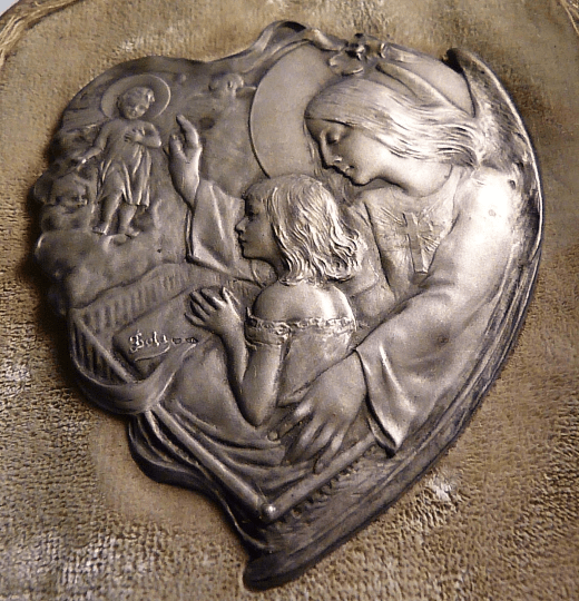 Rare antique French silver triptych solid silver religious icon
