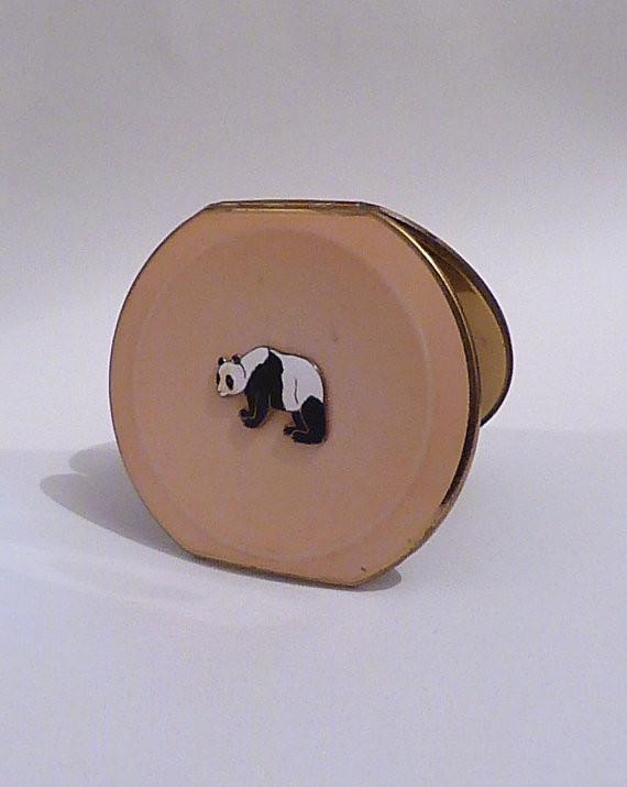 Rare Stratton Clipped Round powder compact enamel panda compacts