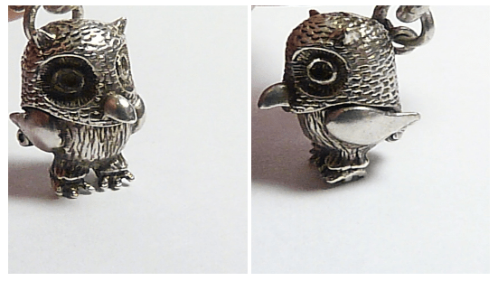 rare vintage owl charm sterling silver