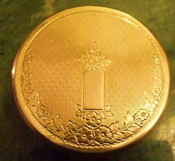 Gold plated Richard Hudnut compact antique compact mirrors golden wedding anniversary gifts for her - The Vintage Compact Shop