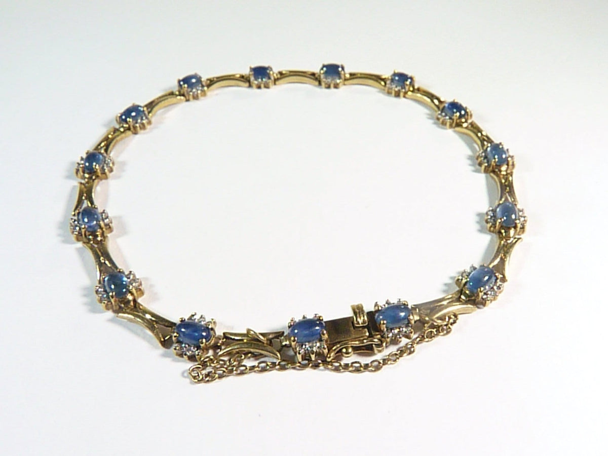 9ct Gold Bracelet Hallmarked Gold Sapphire And Diamond Bracelet 1960s 8 1/2 inches