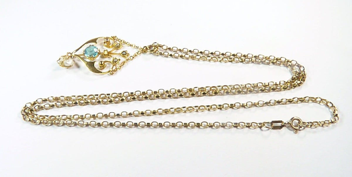 Art Nouveau 9ct Gold Pearl & Aquamarine Pendant & 9ct Hallmarked Gold Necklace