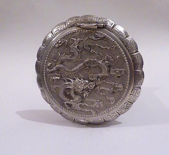 Solid silver compacts Saigon sterling dragon compact 1940s