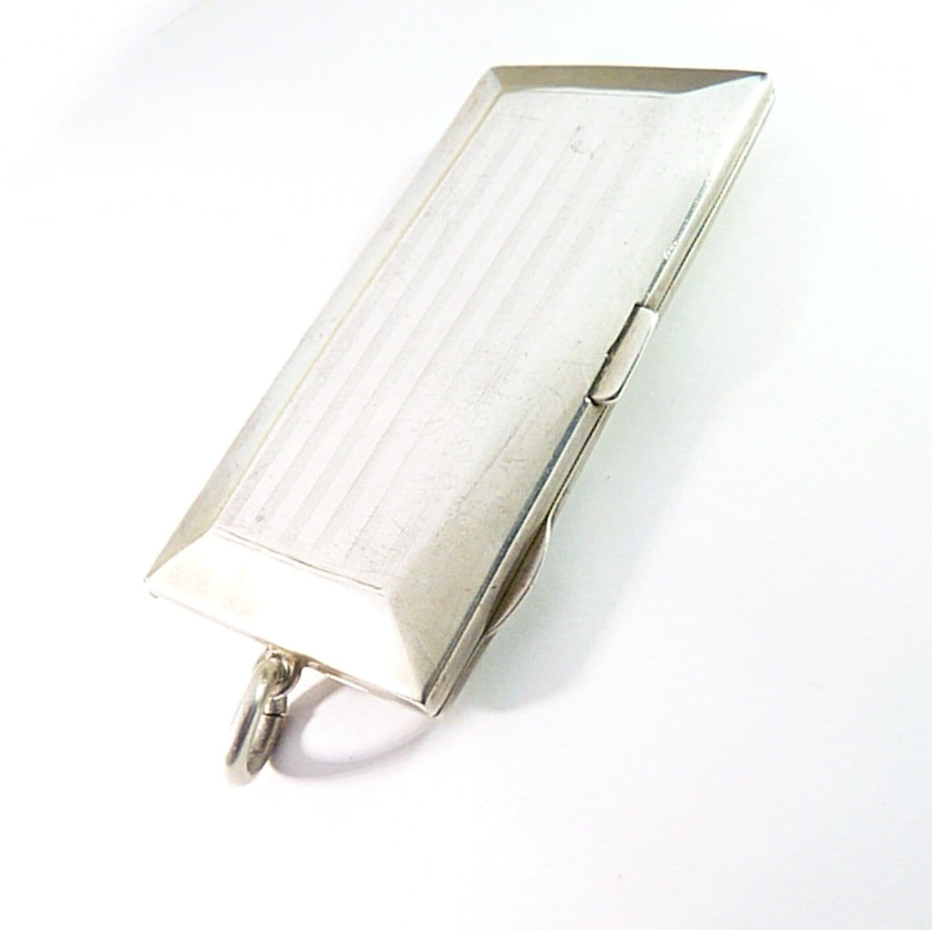 small antique solid silver ladies cigarette and powder case