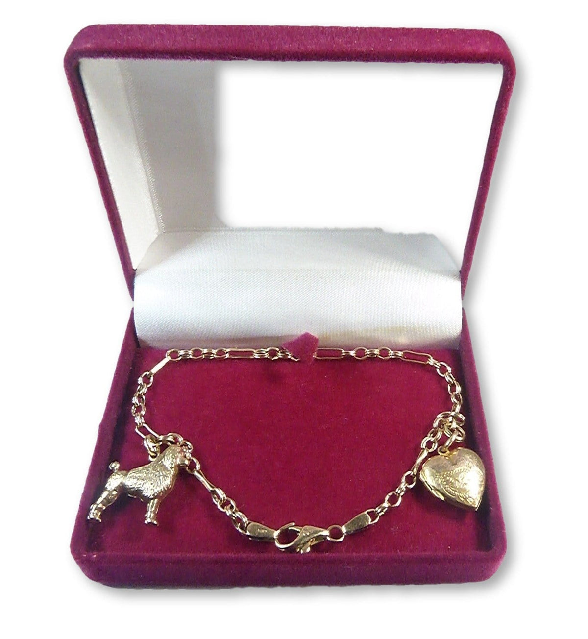 solid gold bracelet Poodle heart locket charm