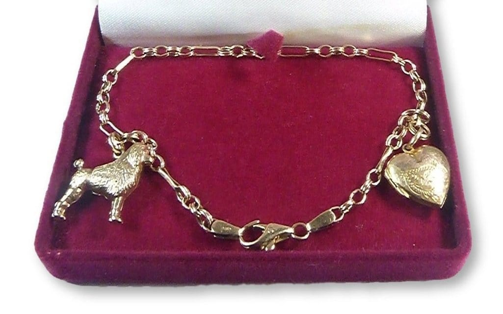 9ct Yellow Gold Poodle Heart Charm Bracelet